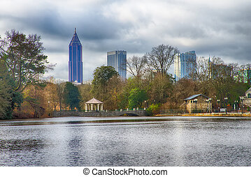 Skyline and reflections of midtown Atlanta, Georgia in Lake...