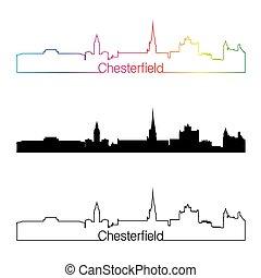 skyline, arco íris, estilo, chesterfield, linear