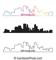 skyline, arco íris, estilo, linear, minneapolis