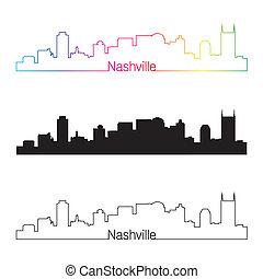 skyline, arco íris, estilo, nashville, linear