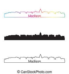 skyline, arco íris, madison, estilo, linear