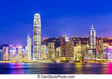 Skyline at night in Hong Kong