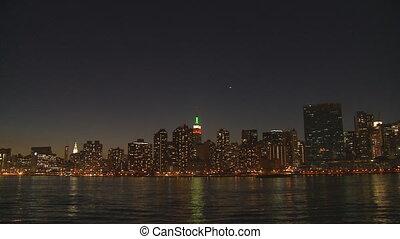 skyline at night slow motion