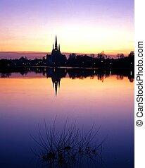 Skyline at sunset, Lichfield, UK. - Stowe pool at sunset...
