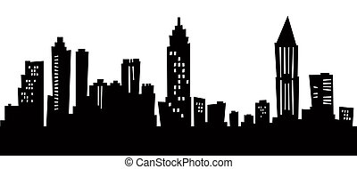 skyline, atlanta, cartoon