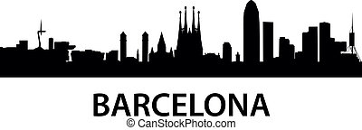 detailed vector illustration of Barcelona, Spain