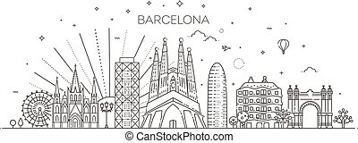 skyline, barcelona, spanien