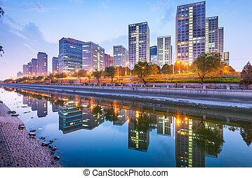 skyline., beijing, cbd, ciudad, china