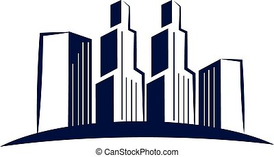 Skyline blue modern buildings logo