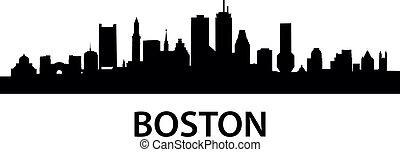 detailed silhouette of Boston, Massachusetts