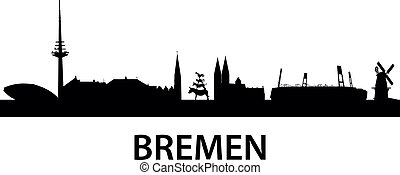 detailed vector silhouette of Bremen, Germany