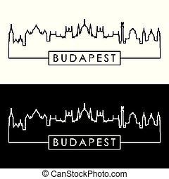 skyline., budapest, lineal, style.
