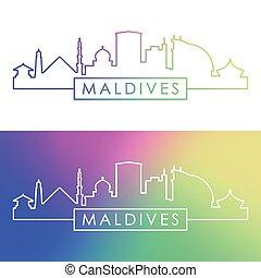 skyline., bunte, linear, malediven, style.