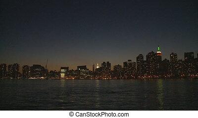 skyline by night pan shot