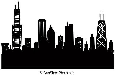 skyline, cartoon, chicago
