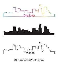skyline, charlotte, stijl, lineair, regenboog