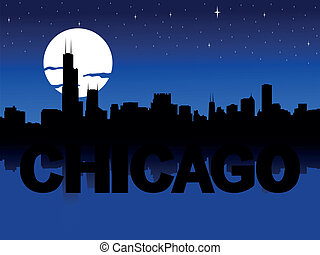 skyline, chicago, abbildung, mond