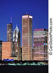 skyline, chicago, anoitecer