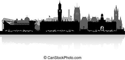 skyline, cidade, silueta, bradfort