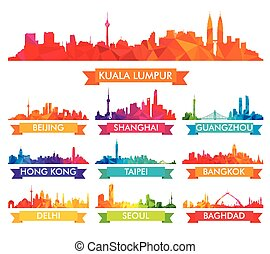 skyline, cidades, asiático, coloridos