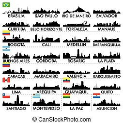 skyline città, america, sud