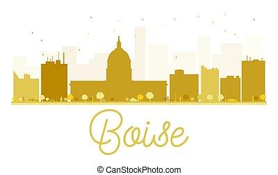 skyline città, boise, dorato, silhouette.