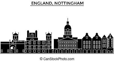 skyline città, costruzioni, viaggiare, viste, inghilterra, isolato, nottingham, vettore, architettura, fondo, cityscape, limiti