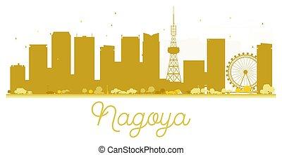 skyline città, dorato, nagoya, silhouette.