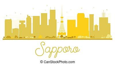 skyline città, dorato, sapporo, silhouette.