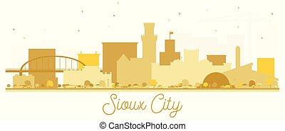 skyline città, dorato, sioux, silhouette.