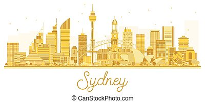 skyline città, dorato, sydney, silhouette.