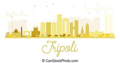 skyline città, dorato, tripoli, silhouette.