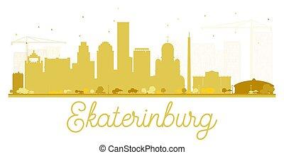 skyline città, dorato, yekaterinburg, silhouette.