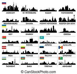 skyline città, e, settentrionale, orientale