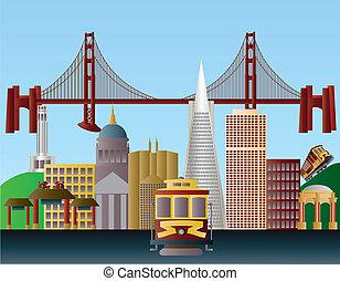 skyline città, francisco, san, illustrazione