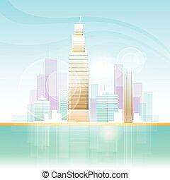 skyline città, grattacielo, fondo, cityscape, vista