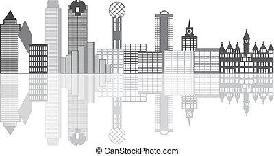 skyline città, grayscale, illustrazione, dallas