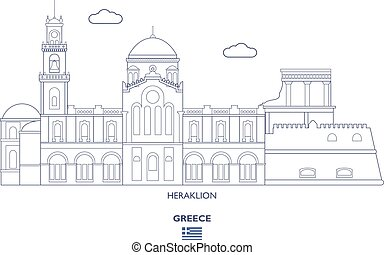 skyline città, heraklion, grecia