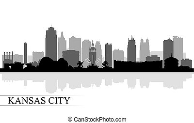 skyline città, kansas, silhouette, fondo