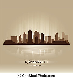 skyline città, kansas, silhouette, missouri