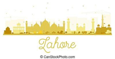 skyline città, lahore, dorato, silhouette.