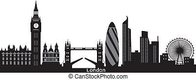 skyline città, londra, testo