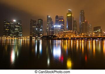 skyline città, moderno, notte