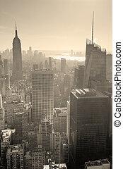 skyline città, nero, york, nuovo, bianco