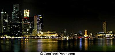 skyline città, notte, panorama, singapore
