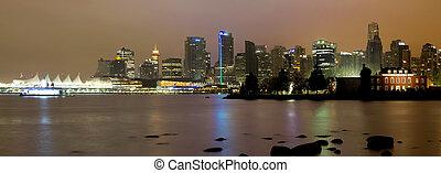 skyline città, notte, vancouver, bc