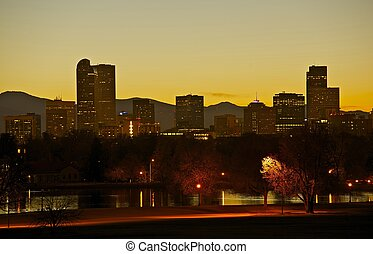 skyline città, parco, denver