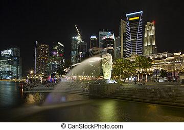 skyline città, parco, merlion, singapore