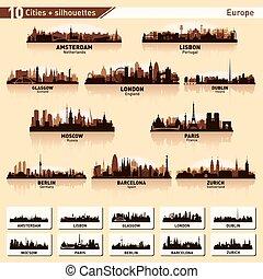 skyline città, set, 10, vettore, silhouette, di, europa, #1
