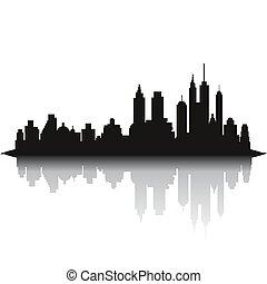 skyline città, sfondo bianco